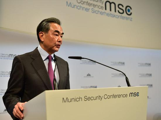 Chinese State Councilor and Foreign Minister Wang Yi makes a speech at the Munich Security Conference (MSC) in Munich, Germany, on Feb. 15, 2020.(Xinhua/Lu Yang)