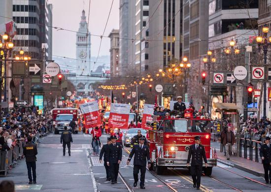 Photo taken on Feb. 8, 2020 shows a parade celebrating the Chinese New Year in San Francisco, the United States.(Photo by Li Jianguo/Xinhua)