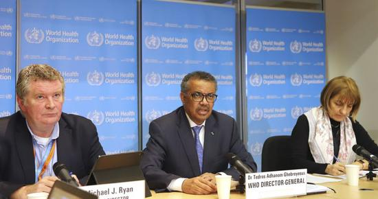 Dr. Tedros Adhanom Ghebreyesus (C), World Health Organization (WHO) Director-General, addresses a press conference, on which WHO said that China's latest epidemiological paper on COVID-19 is important in enabling it to provide advice to other countries, in Geneva, Switzerland, Feb. 17, 2020. (Xinhua/Chen Junxia)