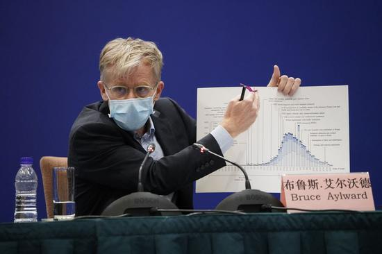 Bruce Aylward, an epidemiologist who led an advance team from the World Health Organization (WHO), speaks during a press conference of the China-WHO joint expert team in Beijing, capital of China, Feb. 24, 2020.(Xinhua/Xing Guangli)