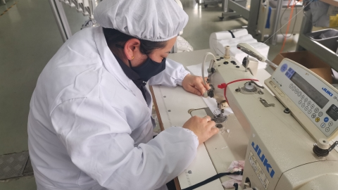 Recyclable masks in production in Shanghai