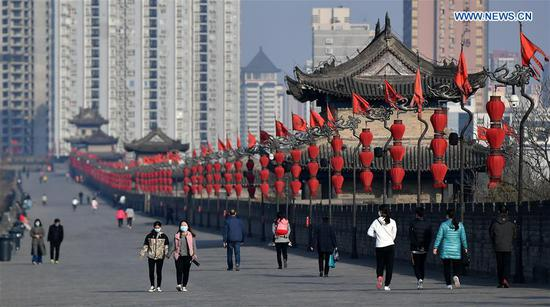 Xi'an city wall scenic spot opens with online reservation mode amid epidemic