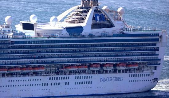 The Grand Princess cruise ship shows up on the San Francisco Bay Area, the United States, on March 9, 2020. (Xinhua/Wu Xiaoling)