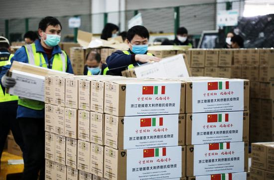 China ships relief supplies to Italy