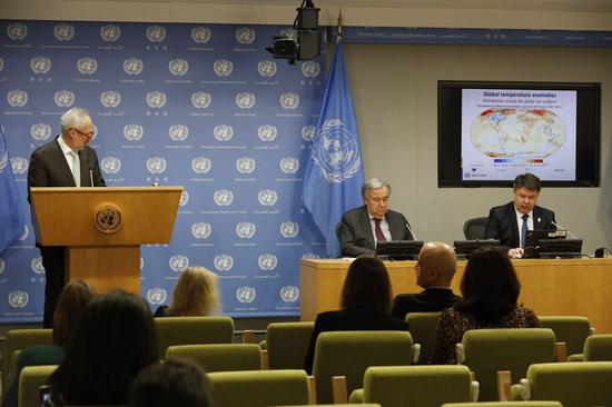 World Meteorological Organization (WMO) Secretary-General Petteri Taalas (1st R, Rear) and United Nations Secretary-General Antonio Guterres (2nd R, Rear) attend the launch of the WMO Statement on the State of the Global Climate in 2019, at the UN headquarters in New York, on March 10, 2020. (Xinhua/Xie E)