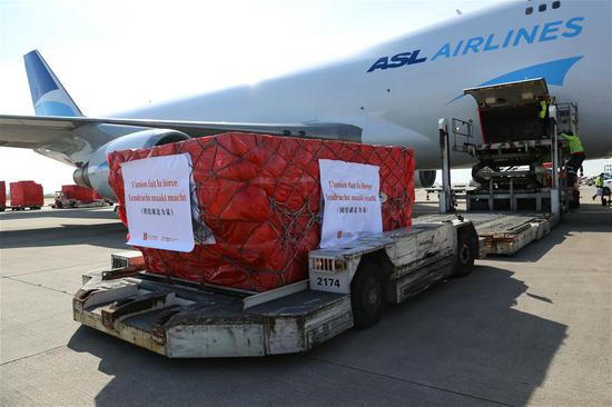 Face masks donated by Chinese charities arrive in Liege, Belgium