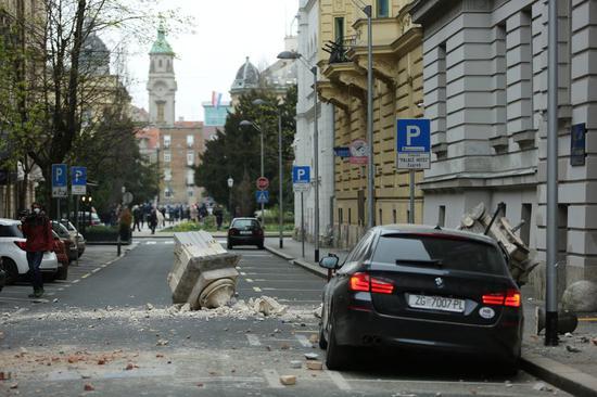 A street scene after an earthquake on a street in Zagreb, capital of Croatia. (Emica Elvedji/Pixsell via Xinhua)
