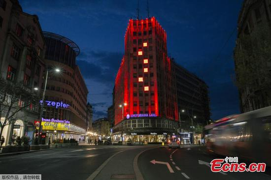 Serbia lights up landmarks to show gratitude to China
