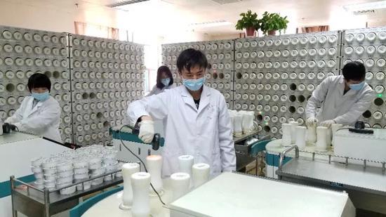 工人在水果机西北的甘肃省生产中药产品。 (照片提供给chinadaily.com.cn)