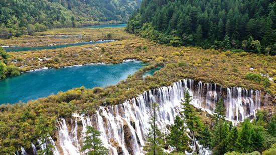 A view of Nuorilang Waterfall in the Jiuzhaigou National Park in southwest China's Sichuan Province, Sept. 23, 2019. (Photo by Wang Xi/Xinhua)