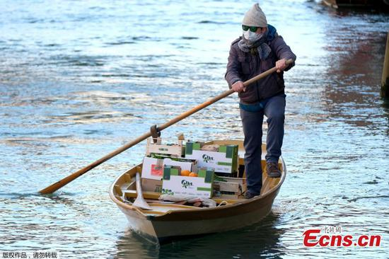 Rowboat used to deliver food to residents in Venice