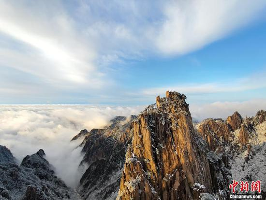 Scenery of Huangshan Mountain after spring snow
