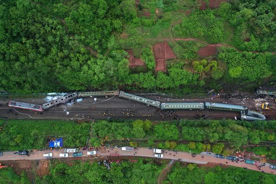 Aerial photo taken on March 30, 2020 shows the accident site after a train derailed at Yonghua Village of Yongxing County in Chenzhou City, central China's Hunan Province. (Xinhua/Li Ga)