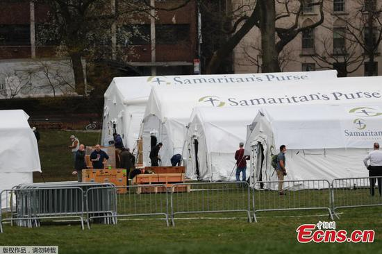 Field hospital set up in Central Park as New York's health crisis deepens