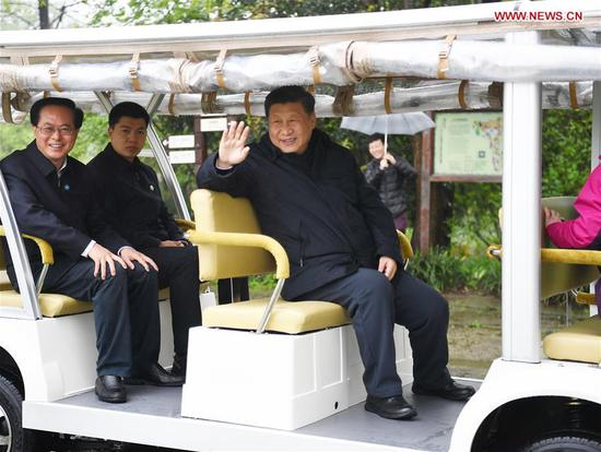 Chinese President Xi Jinping, also general secretary of the Communist Party of China Central Committee and chairman of the Central Military Commission, visits the Xixi National Wetland Park during an inspection in Hangzhou, east China's Zhejiang Province, March 31, 2020. (Xinhua/Yan Yan)