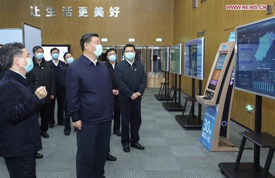 Chinese President Xi Jinping, also general secretary of the Communist Party of China Central Committee and chairman of the Central Military Commission, visits the City Brain, a smart city platform aiming to improve urban management, during an inspection in Hangzhou, east China's Zhejiang Province, March 31, 2020. (Xinhua/Ju Peng)