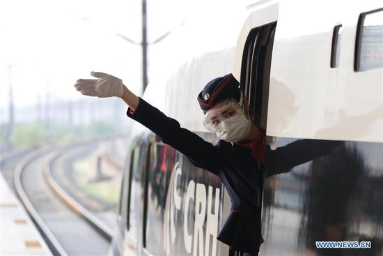 First outbound train leaving Hubei from Wuhan reopens service