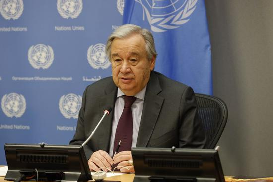 United Nations Secretary-General Antonio Guterres speaks at the UN headquarters in New York, on March 10, 2020. (Xinhua/Xie E)