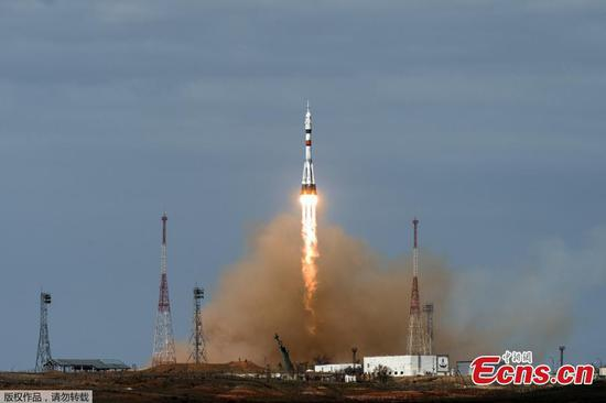 Russia's Soyuz MS-16 spacecraft lifts off with three crewmembers