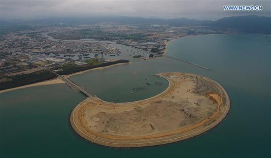 Construction site of Yazhou Bay Science and Technology City in Sanya