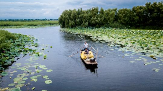 Villagers row a boat on Baiyangdian Lake in Xiongan New Area, Hebei province. (MAO HERAN/FOR CHINA DAILY)