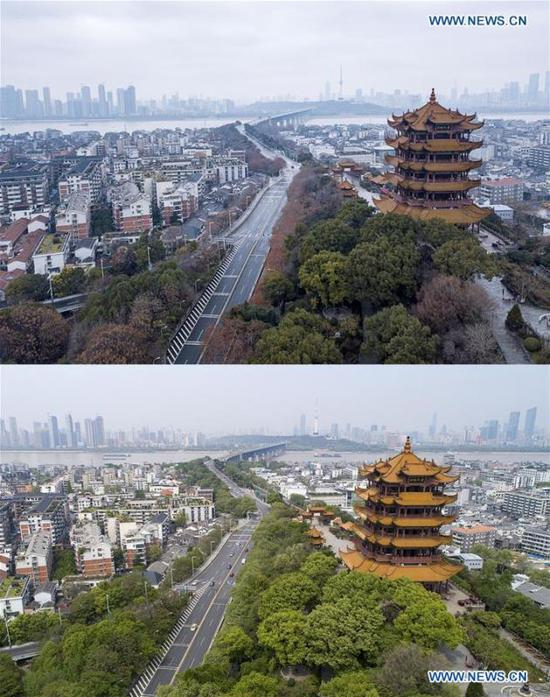 Aerial combo photo shows the Yellow Crane Tower and the Yangtze River Bridge in Wuhan, central China's Hubei Province on Jan. 26, 2020 (upper) and on April 8, 2020.