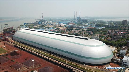 'Capsule'-shaped bulk-cargo warehouse to be put into operation in Yueyang