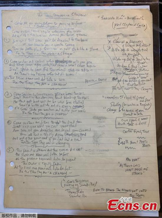 Bob Dylan's handwritten 'Times' lyrics on sale