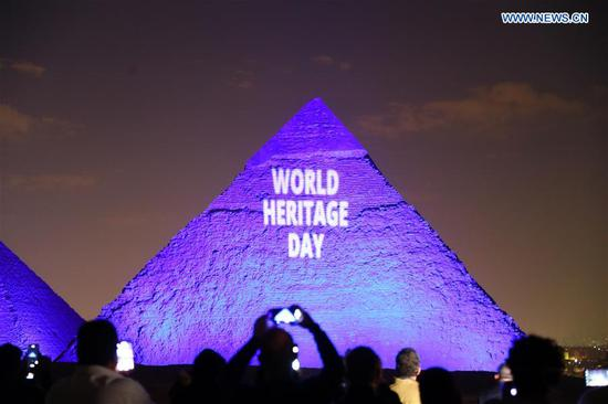 Pyramids illuminated during World Heritage Day