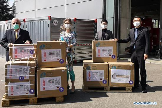 Medical supplies from China delivered to Germany's Heidelberg