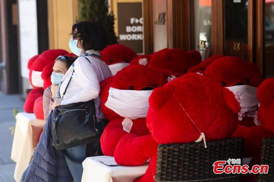Teddy bears wearing protective masks seen at restaurant in New York