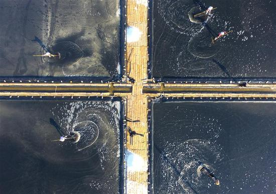 Aerial view of Putian salt field in SE China's Fujian