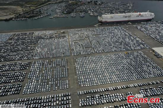 New cars lined up at the Port of Los Angeles