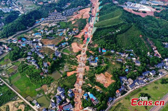Construction site of Pinglian highway in Jiangxi