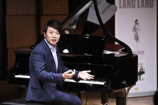 Pianist Lang Lang speaks during a press conference in New York, the United States, April 9, 2019. (Xinhua/Wang Ying)