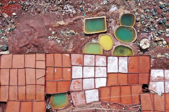 Stunning aerial view of salt pans in China's Tibet