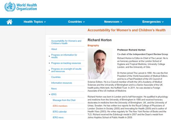 世界卫生组织网站上的Richard Horton和他的传记的屏幕快照。 (新华社)