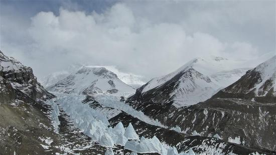 View of transition camp of Mount Qomolangma at altitude of 5,800 meters