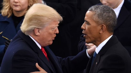 U.S. President Donald Trump (L) is greeted by former President Barack Obama after delivering his inaugural address during the presidential inauguration ceremony at the U.S. Capitol in Washington, DC, U.S., January 20, 2017. (Photo/Xinhua)