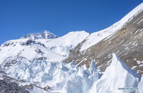 珠穆朗玛峰北侧的冰峰