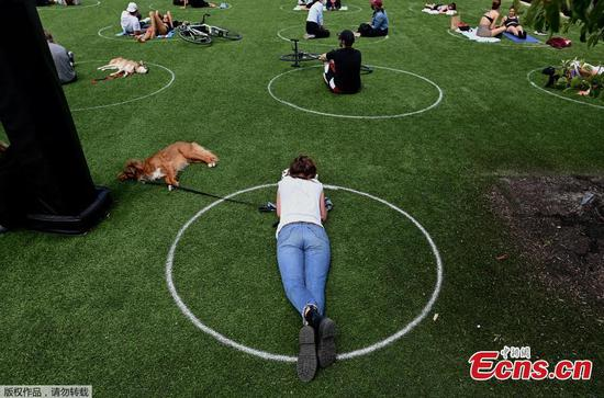New York City enforcing social distancing with circles on grass