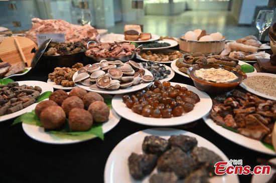 中国东北展出的石制宴会