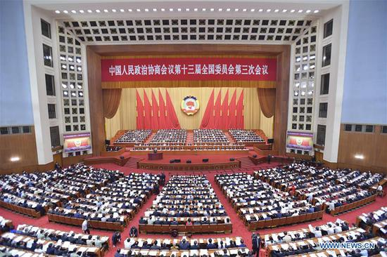 The third session of the 13th National Committee of the Chinese People's Political Consultative Conference (CPPCC) opens at the Great Hall of the People in Beijing, capital of China, May 21, 2020. (Xinhua/Li Tao)