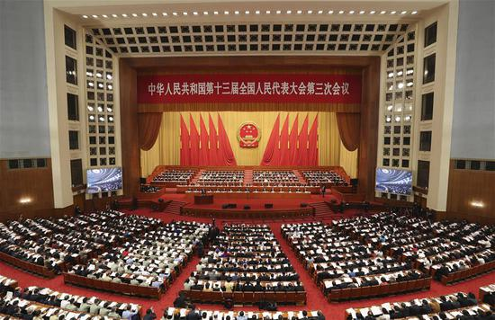 The third session of the 13th National People's Congress (NPC) opens at the Great Hall of the People in Beijing, capital of China, May 22, 2020. (Xinhua/Yao Dawei)