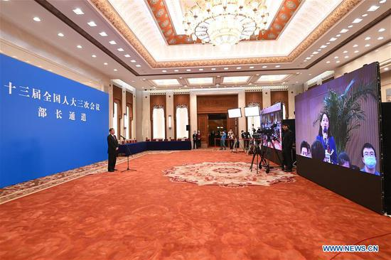 Ministers receive interview after opening meeting of 3rd session of 13th NPC