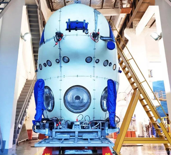 A deep-sea manned submersible capable of 10,000-meter dives is assembled. (File photo/CGTN)