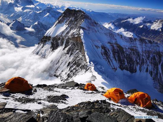 View of Camp Two at altitude of 7,790 meters on Mount Qomolangma