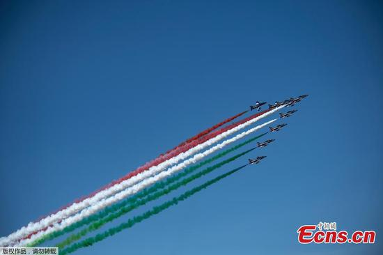 Frecce Tricolori aerobatic squad performs to show unity and solidarity amid pandemic