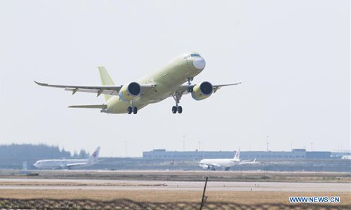 The fifth prototype of China's large passenger airliner C919 takes off from Shanghai Pudong International Airport in Shanghai, east China, Oct. 24, 2019. The fifth prototype of China's large passenger airliner C919 completed its maiden flight at an airport in Shanghai on Thursday morning. (Xinhua)
