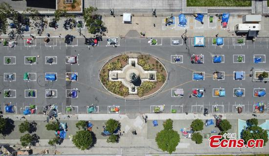 Social distancing homeless camp set up outside San Francisco City Hall